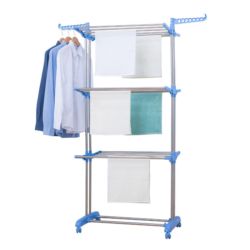 Outdoor Laundry Drying Rack Customized Foldable 3 Tier Clothes Drying Collapsible Laundry Dryer Hanger Stand Indoor Outdoor Cloth Storage Rack