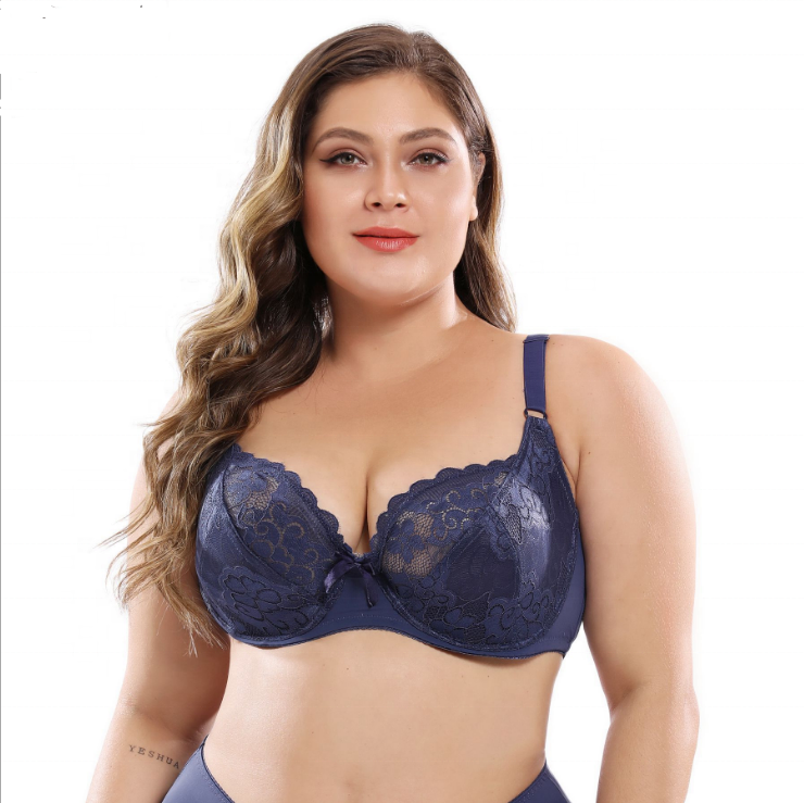 Europe and the United States DE Large Cup Underwear Thin Fat MM Plus Sexy Bra Set Lace Women Plus Size Bra