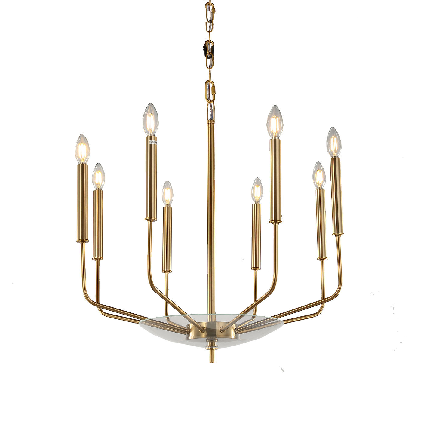 2020 New Modern American Candle Style Iron Chandelier with Brass Finish and Clear Glass Candle Pendant Light for Bedroom Kitchen