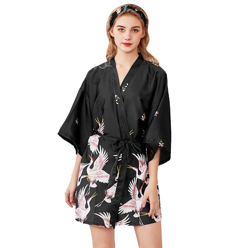 Silk Crane Pajamas Women's Summer Middle Sleeve Bride Morning Robe Large Size Home Nightgown Bathrobe