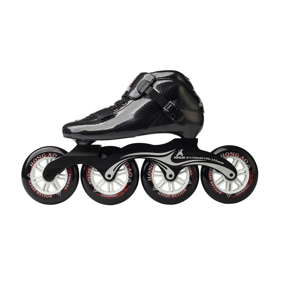 New pu wheels professional roller skating speed inline carbon fiber speed skating shoes