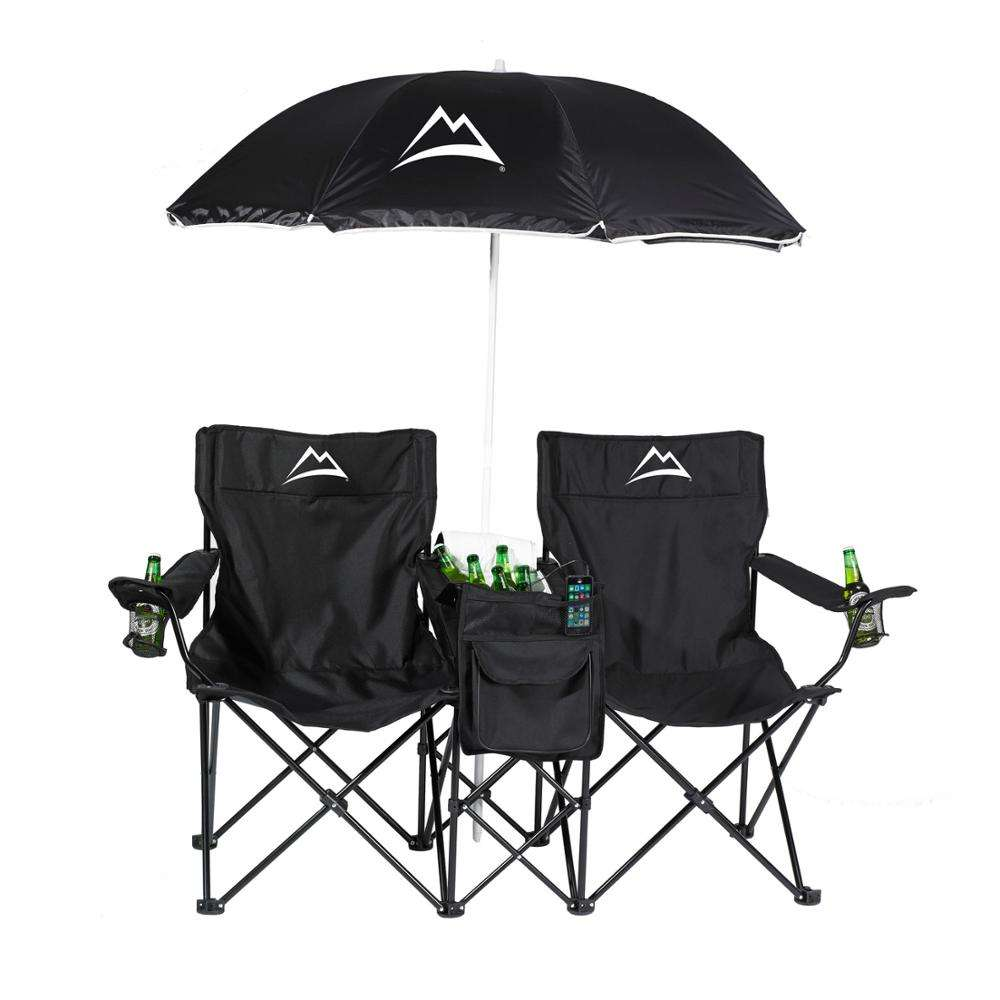 Custom Outdoor Picnic Double Folding Chair with Umbrella Table Cooler Beach chair