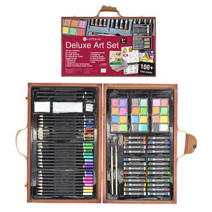 Popular Universal Deluxe DIY drawing Painting Art Set with wooden box kids toys