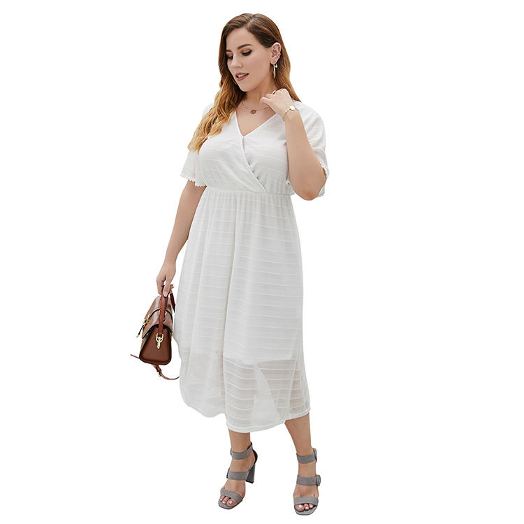 white lace dress Short Sexy Evening Knee Length Party Dress Simplicity v-neck design plus size cocktail dress