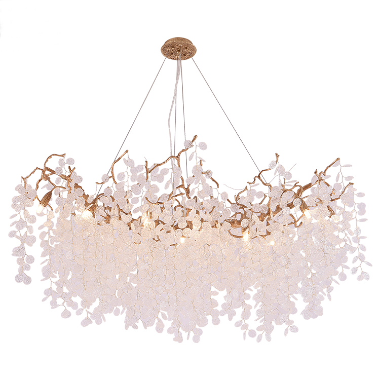Hotel dinning room luxury copper glass led modern chandelier pendant light