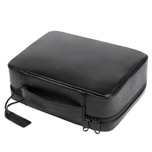 Portable Logo Custom Leather Travel Toiletry Cosmetic Bag For Men