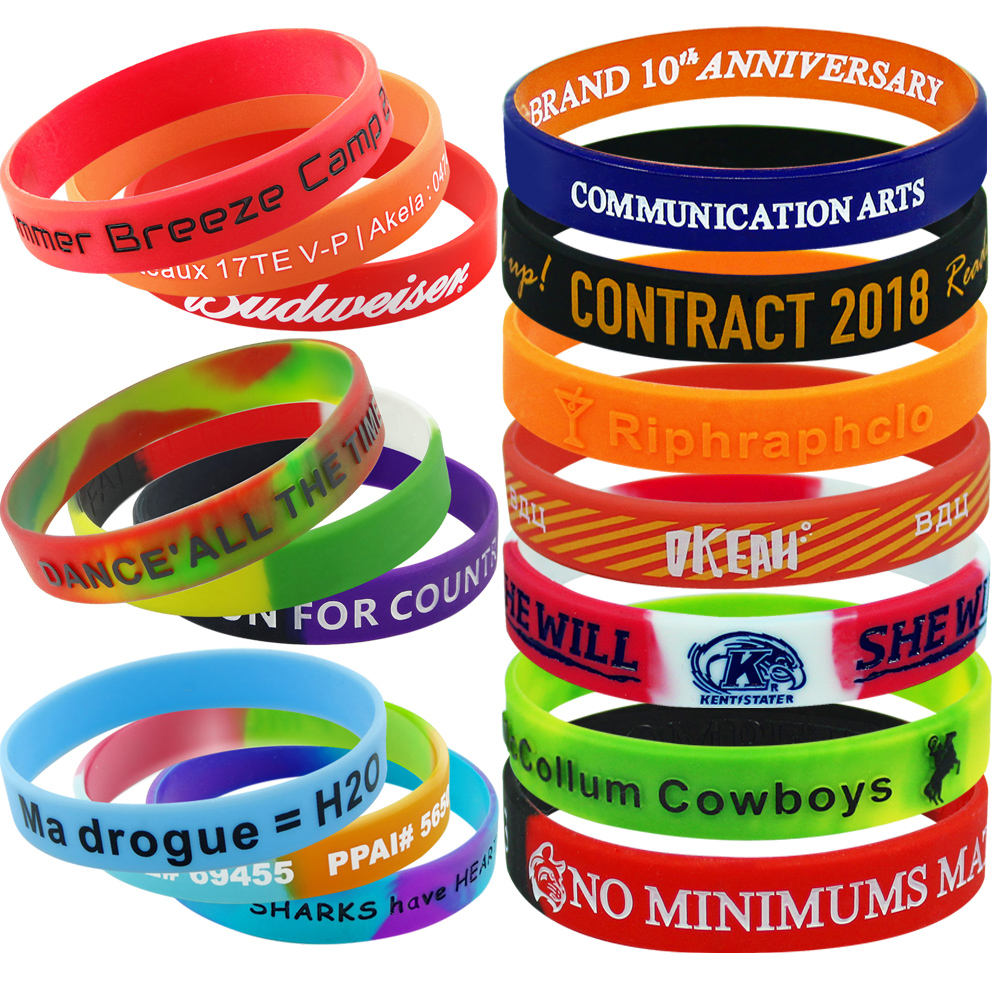 No Minimum Order Custom Rubber Bracelets, Custom Cheapest Silicone Wristbands With a Message