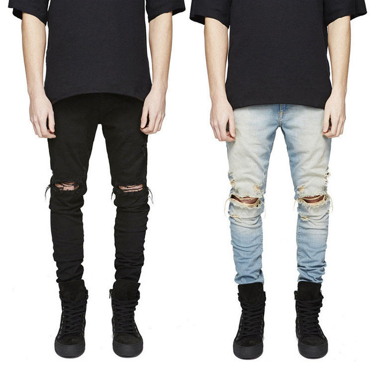 China Factory Wholesale Mens Ripped Distressed Track Jeans Pants