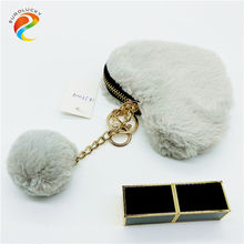 Hotsale fashion heart shape customized all kinds of colour plush ladies purse wallet