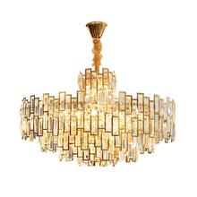 Wholesale modern luxury gold lamp lighting pendant lights k9 stainless steel crystal chandelier for living room