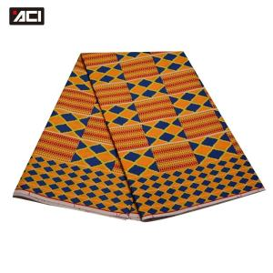 ACI Wholesale African Wax Prints Fabric Ghana Kente Cloth 6 Yards/Piece Fashion Veritable Real Wax Fabric For Wedding Dress