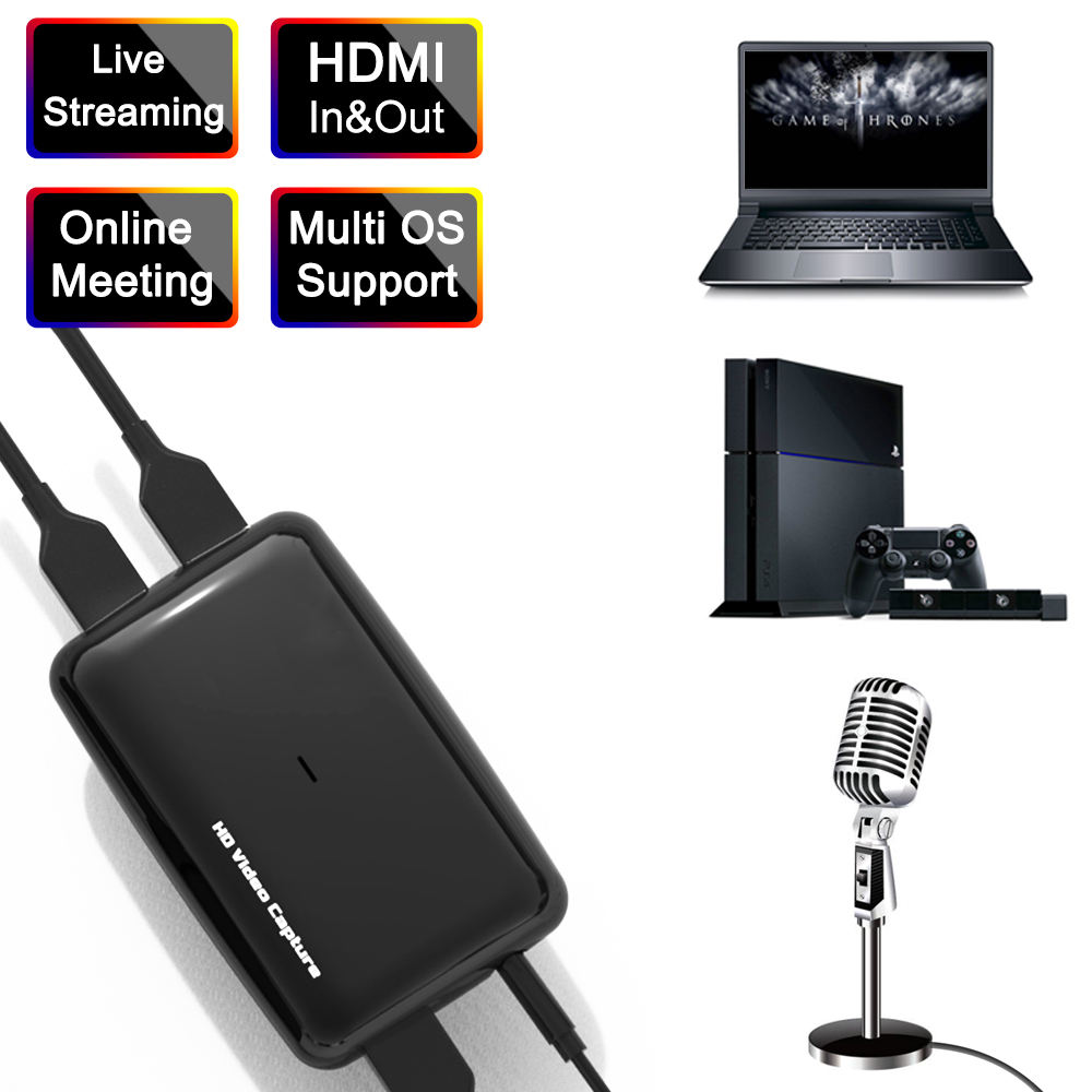 ezcap301 HD60 Game Live 4K 30fps HDMI Input and bypass HDMI to USB PC Video Capture Dongle for Live Streaming