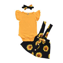 3PCS girls' clothing sets solid color sleeveless halter print sunflower baby shorts and headband wholesale baby clothing rompers