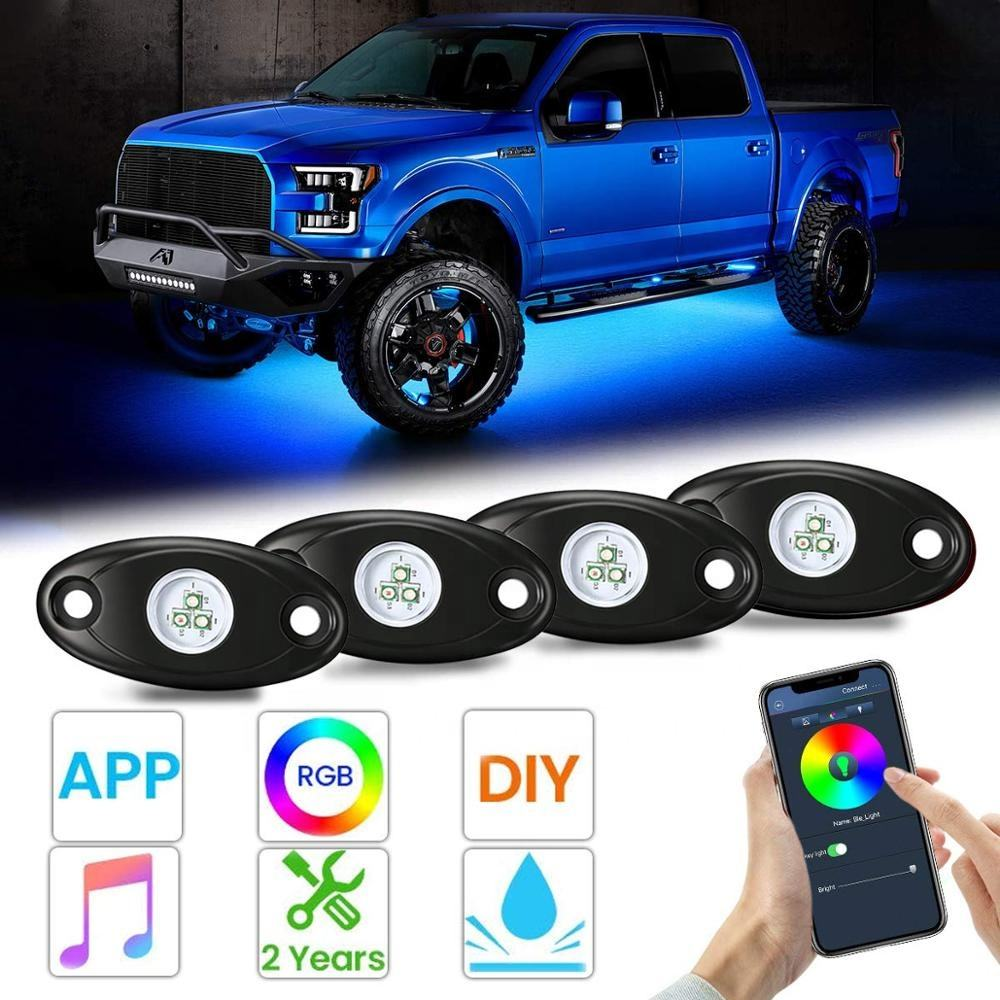 OVOVS 4 6 8 12 Pods LED Waterproof Rock Light RGB Multicolor APP Bluetooth Control Car Underbody RGB Led Rock Light