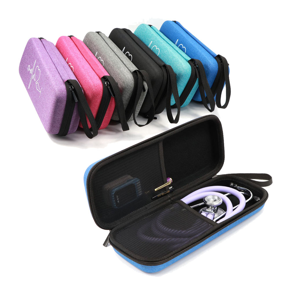 Semi Hard Stethoscope Carry Case, fits 3M Littmann Stethoscope and Other Accessories - Available in Blue, Grey, Purple and Pink