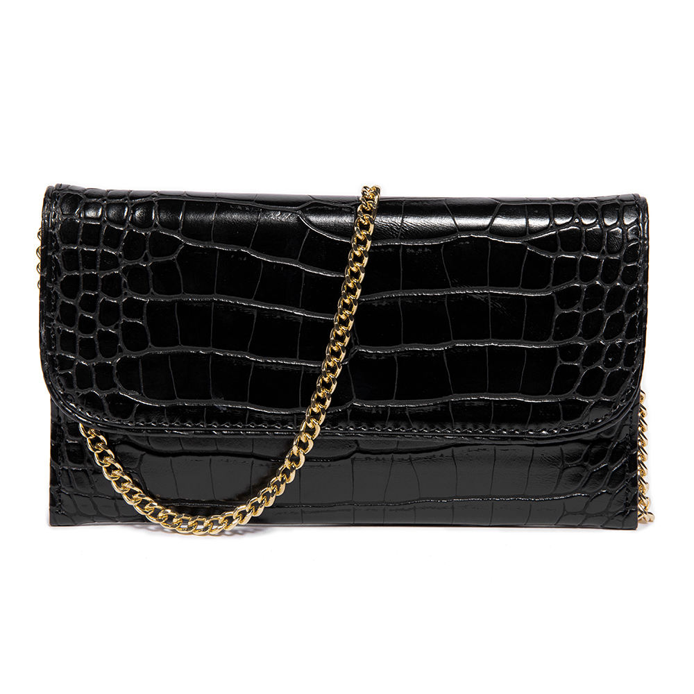 Latest fancy detachable chains faux leather business bags functional crossbody shoulder handbags women crocodile clutch purse