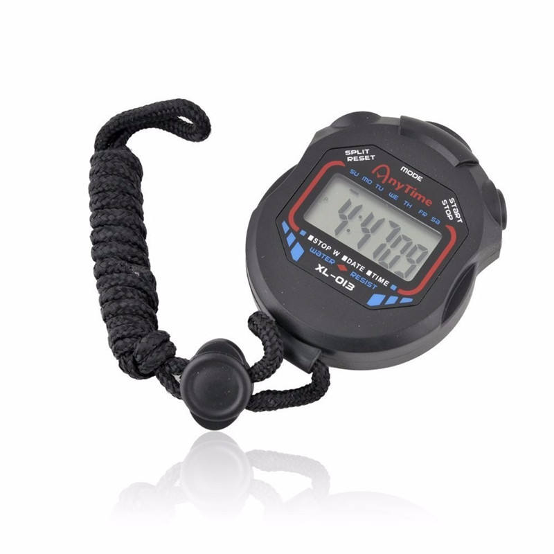 Classic Digital Professional Handheld LCD Chronograph Sports Stopwatch Timer Stop Watch with string
