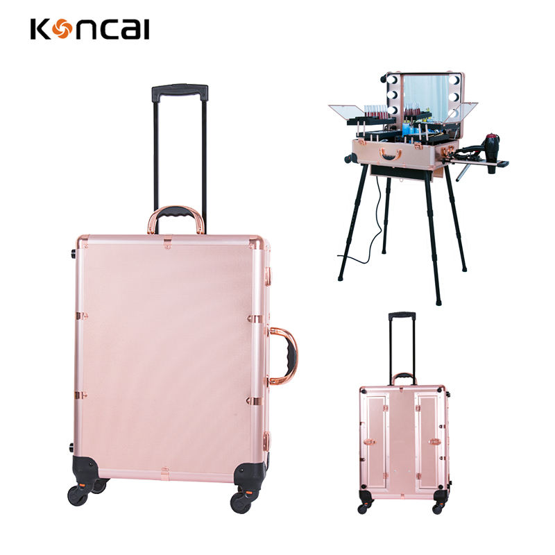 Professional Beauty Artist Makeup Case Lights Aluminum Trolley Train Beauty Case with LED Mirror