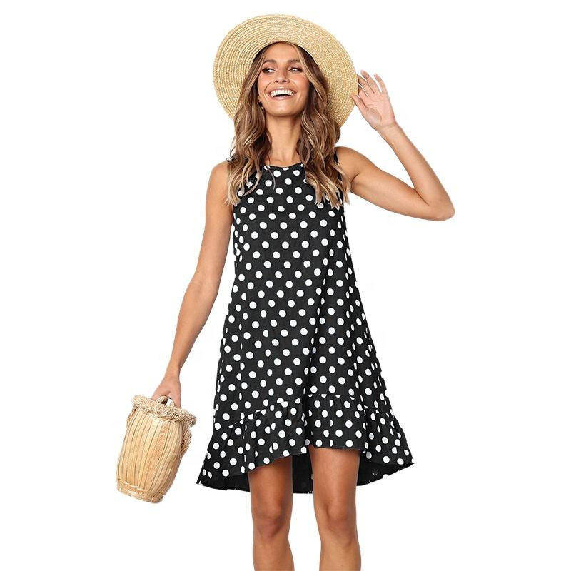 Logo Customization Dress Casual Dresses Women Flouncing Hem Summer Polka Dot Vestidos Women Casual Midi Sun Dress With Pocket