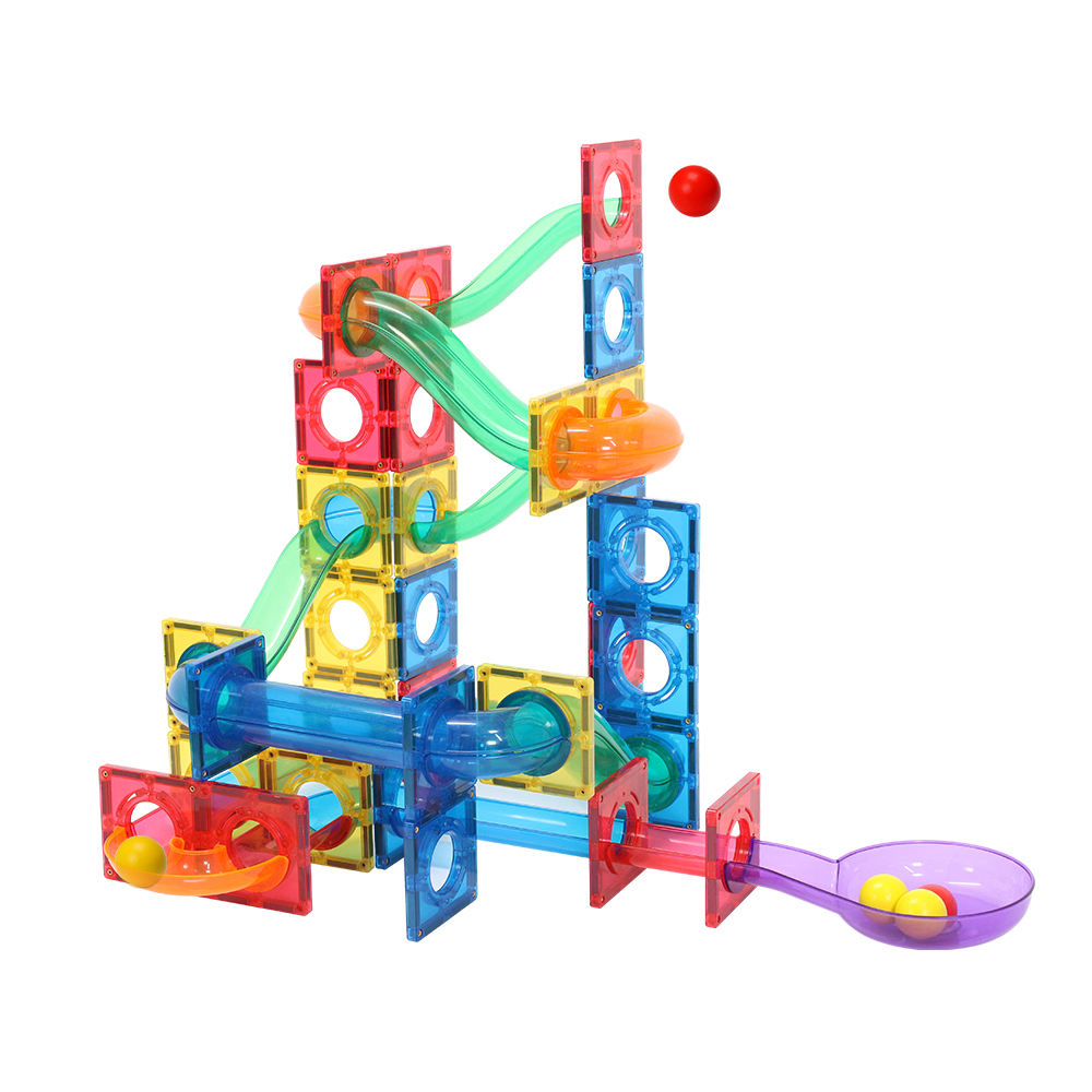MNTL educational 151pcs marble run magnetic tiles colorful magnetic toys set safe plastic building blocks for kids