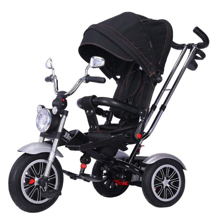 Kids tricycle 4 in 1 with lights and music/Multi-functional folding and rotating tricycle/ Linen canopy tricycle