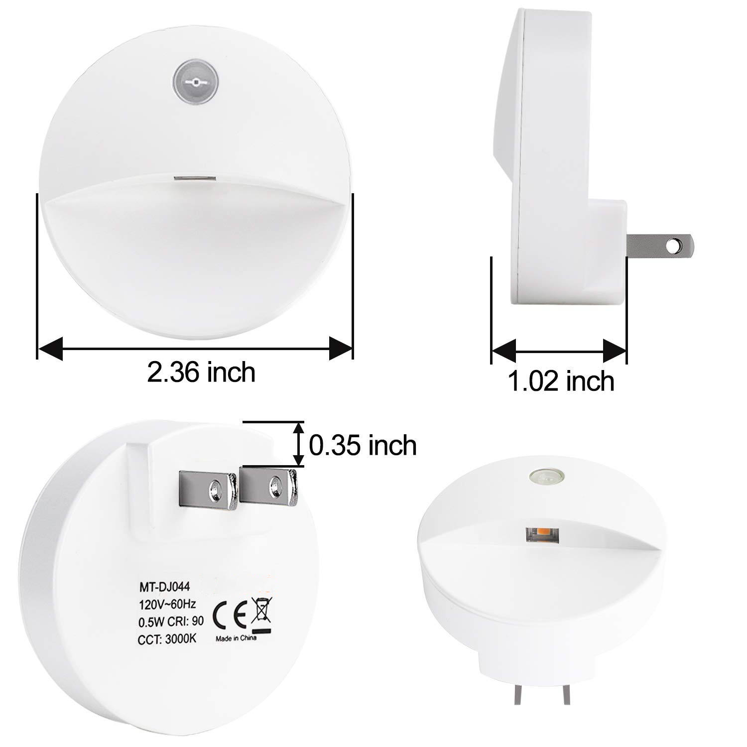 Warm white 110V 2 Pack US plug led night light with light sensor for baby room