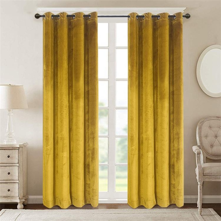 Super Soft Yellow Simple Style Window Thermal Insulated Washable Grommet Custom Velvet Blackout Window Curtains//