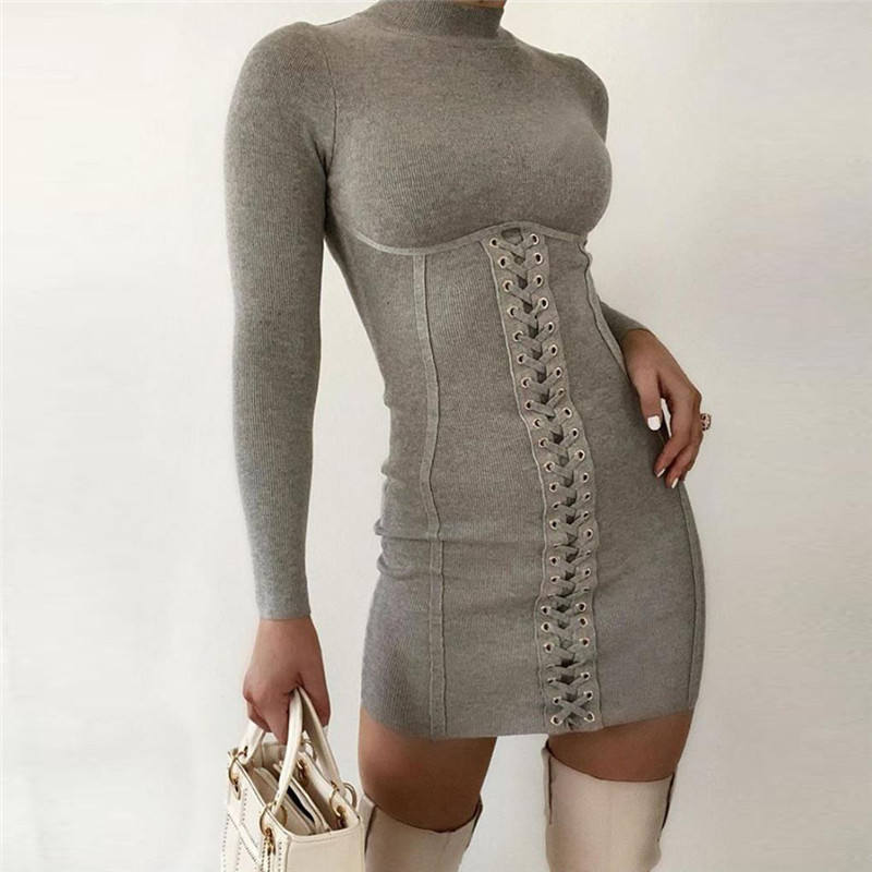 New Autumn Long Sleeve Turtleneck Hooked Corset 2020 Fall for Clothing Dresses Women