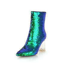 Sexy Pointed Toe Women Winter Boots Shoes Square High Heel Zipper Ankle Boots Glitter Sparkly Short Booties For Ladies