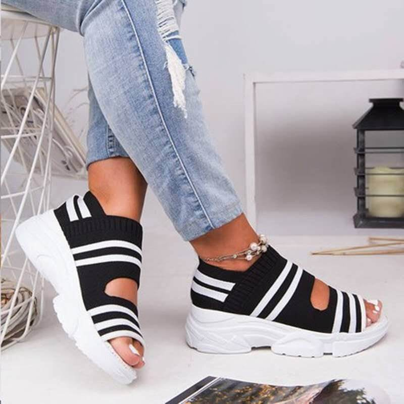 Summer Women Sandals Open Toe Wedges Platform Ladies Shoes Knitting Lightweight Sneakers Sandals Big Size 35-43 Zapatos Mujer