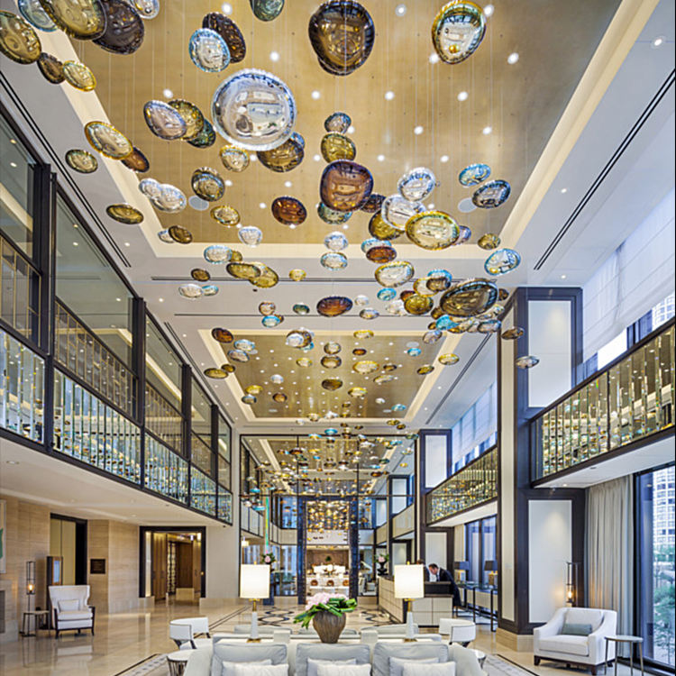 Art decoration glass custom hotel crystal ball round modern chandelier light