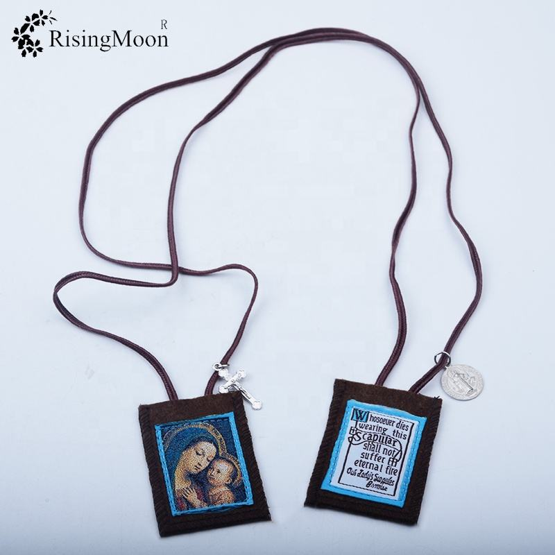 Customized Guadalupe Brown Embroidery Scapulars Necklace Gifts For Women and Rosary With Medal and Crucifix