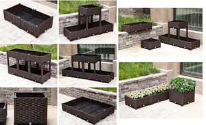Plastic outsunny garden vegetable flower box elevated raised planter bed