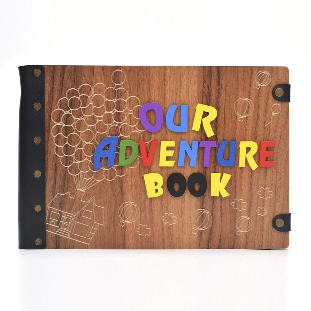 100 Pages Our Adventure Book Photo Album DIY Scrapbook Album with 3D Wood Letters Cover for Valentines Gifts Wedding Photo Album