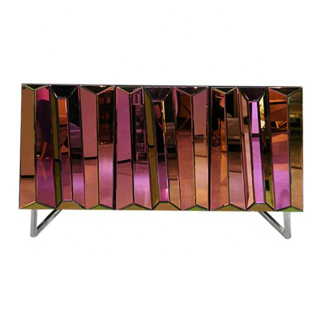 Modern Hot selling Handmade Mirrored furniture Multiple Disordered Color Dining Room Buffet Cabinet Sideboard