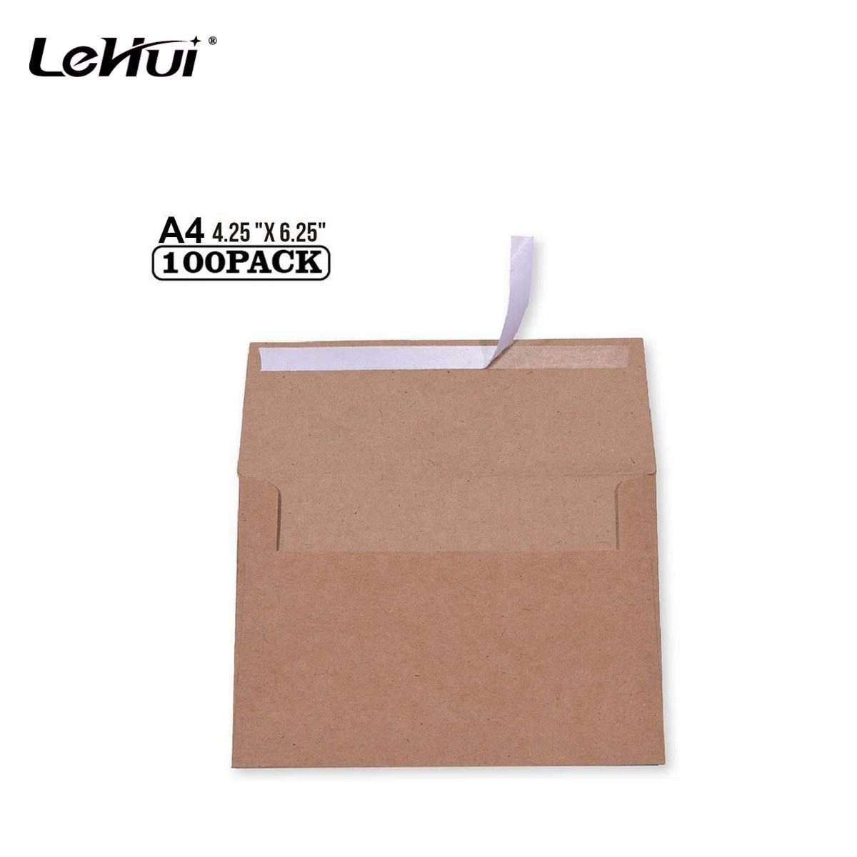 Cheap 100 Pack Size A4 4.25 x 6.25 inches Brown Kraft Paper 4 x 6 Envelopes Perfect For Stationery and General Office