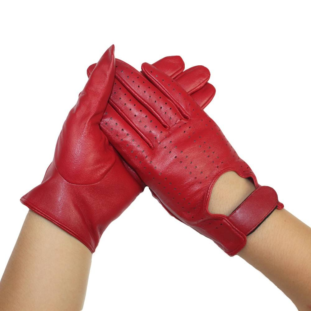 Fashion hole touch sexy lady dress unlined genuine red leather gloves women