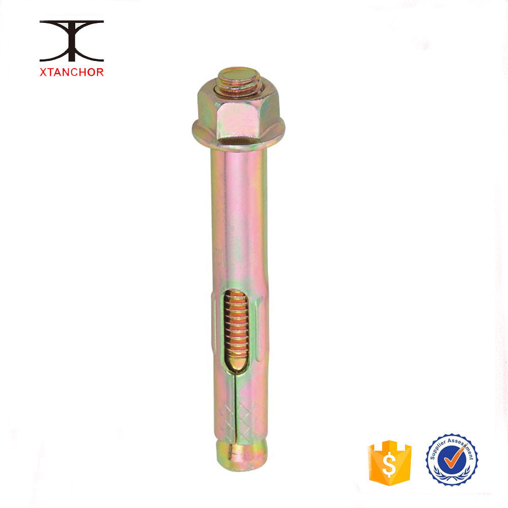 M8X10X120, Flange Nut Sleeve Concrete Pole Anchor, yellow zinc plated, Carbon Steel Q195,stainless steel