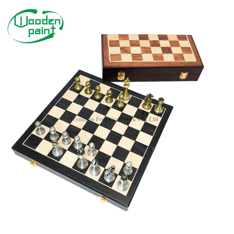 Wholesale Wooden Travel Game set custom storage luxury chess board wooden box