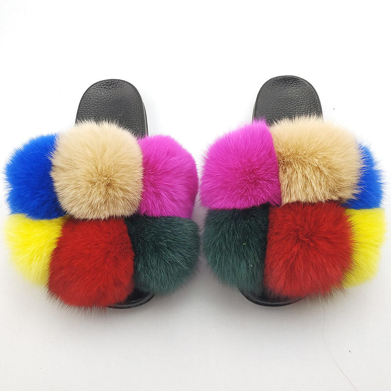 OEM&ODM Women Summer Indoor Casual Fur Slippers Flat Non-Slip Solid Real Fox Slides Large Size Slippers