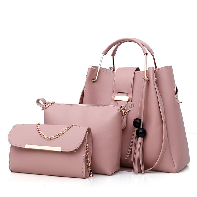 2020 Hotsale 3 Pieces PU Leather Tote Bag For Women Luxury Tassel Hand Bag Set/