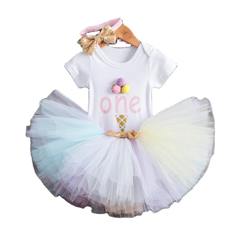 0-1 year toddler infant Birthday party baby clothing set 3pcs cotton ruffle 3-piece princess tutu dress romper
