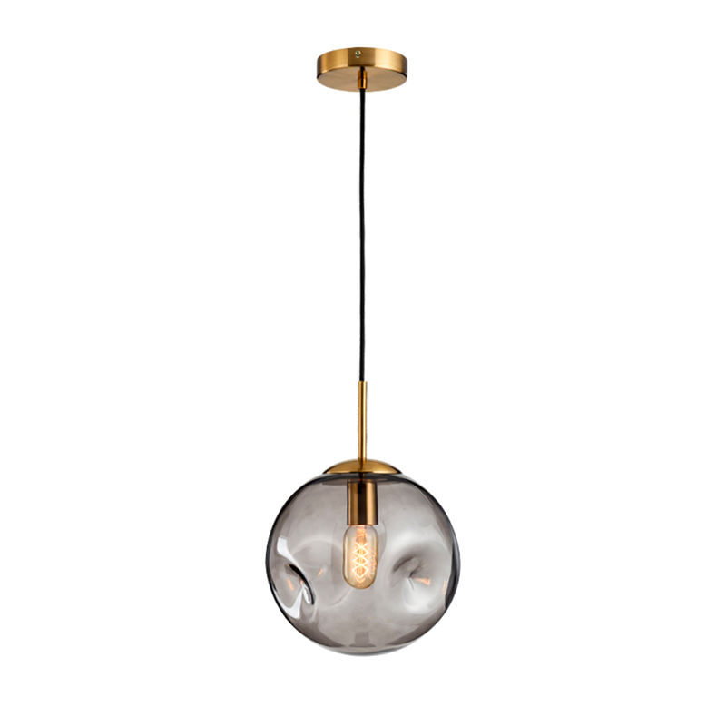 Smoke gray glass pendant lamp led chandelier