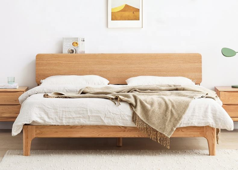 Solid Wood Modern Furniture Modern 1.5 / 1.8m Solid Wood Bed Nordic Modern Minimalist Environmentally Friendly Bedroom Furniture Oak Double Bed