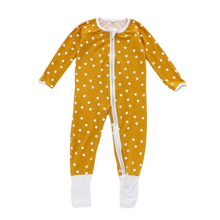 OEM bamboo New born baby zipper pajamas Organic Cotton Long sleeve Organic Solid Cartoon Romper