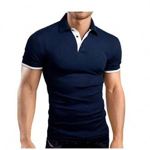 Zomer Korte Mouw Polo Shirt Mannen Turn-Over Kraag Fashion Casual Slim Ademend Effen Kleur Business Mannen Polo shirt L0080-1
