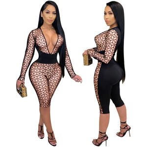 hot products top 20 Big V-neck corset sexy stitching jumpsuit