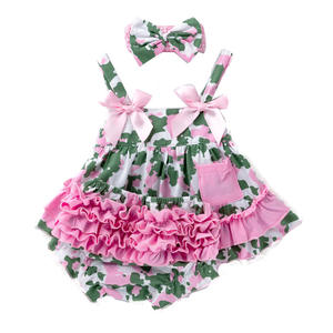 Clothes Summer Camouflage Halter Swing Top Bloomer Roses Toddler Girl Outfit With Headband