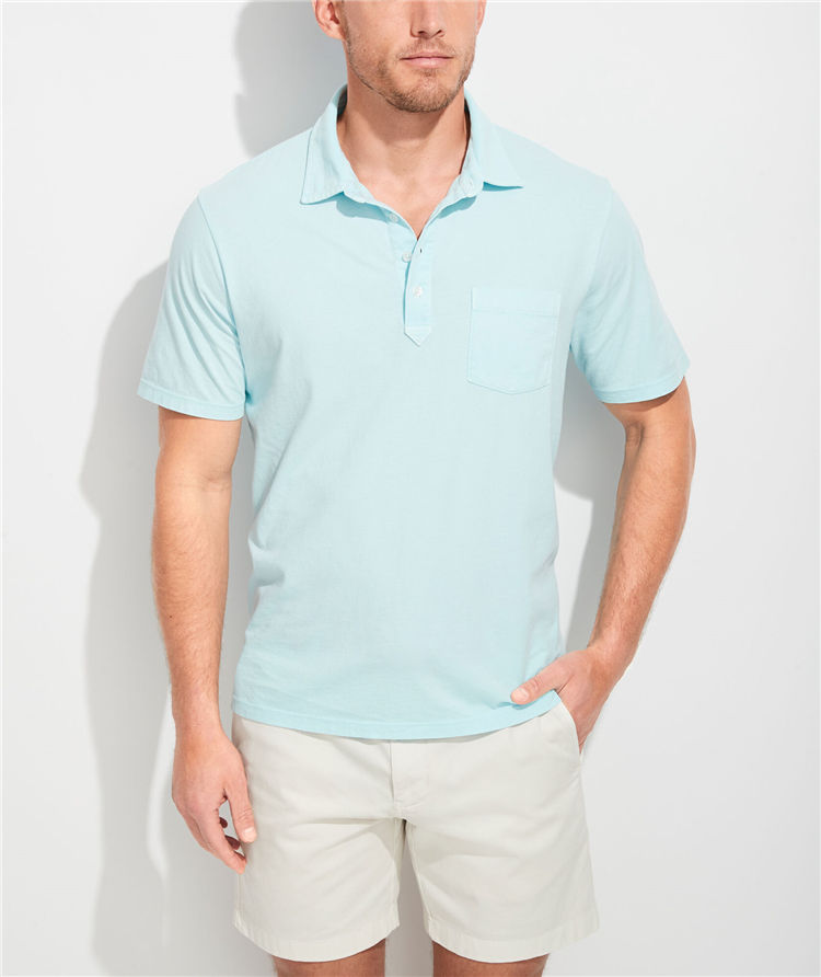 Casual Style 100% Pima Cotton Soft Polo Shirt with Check Pocket