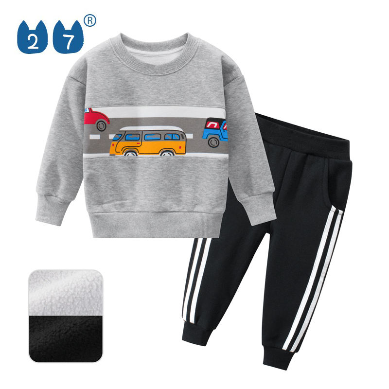 Wholesale Children Brand Design Boutique Long Sleeve Fleece Boys Clothing Set